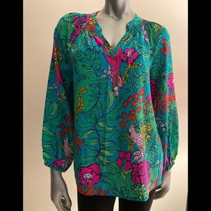 Lilly Pulitzer Blouse Parrot Print M
